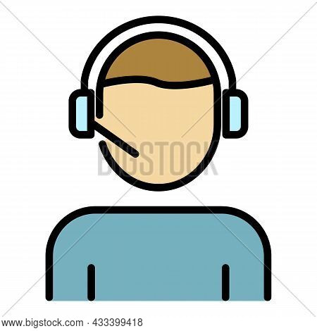Man Office Call Center Icon. Outline Man Office Call Center Vector Icon Color Flat Isolated