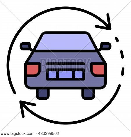 Car Update Firmware Icon. Outline Car Update Firmware Vector Icon Color Flat Isolated