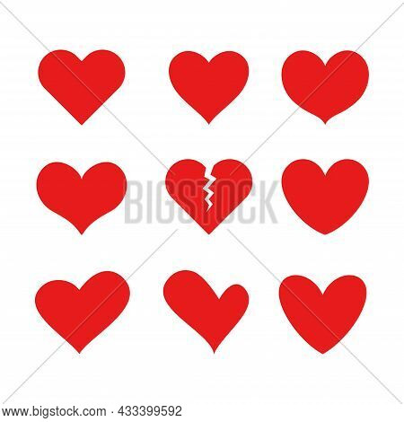 Heart Icon Set. Various Heart Shape Vector Illustration. Perfect For Design Element Of Love, Valenti