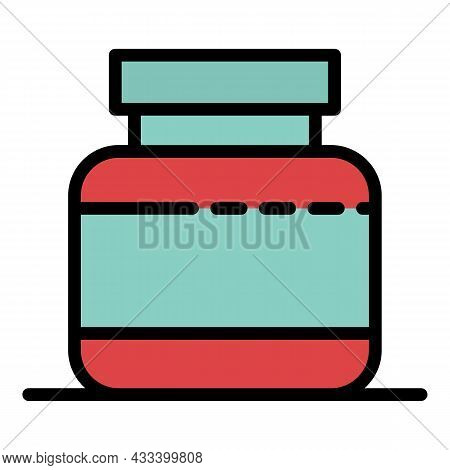 Fitness Protein Jar Icon. Outline Fitness Protein Jar Vector Icon Color Flat Isolated