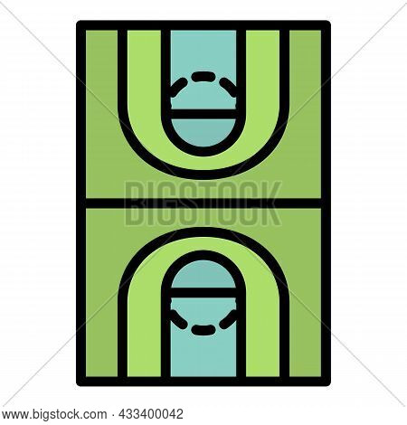 Basketball Field Icon. Outline Basketball Field Vector Icon Color Flat Isolated