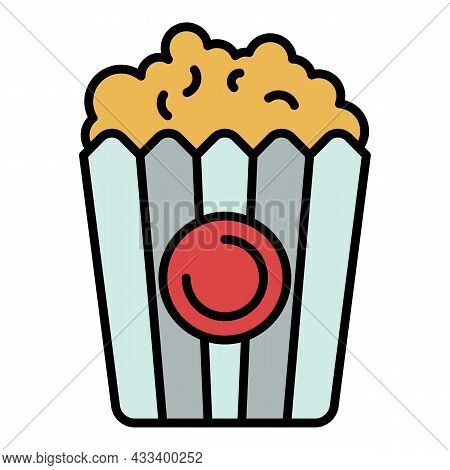 Popcorn Basket Icon. Outline Popcorn Basket Vector Icon Color Flat Isolated