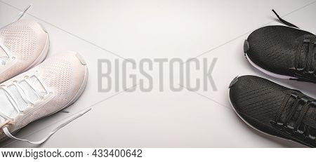 Flat Lay Sport With White And Black Sport Shoes On White Background. Concept Healthy Lifestyle, Spor