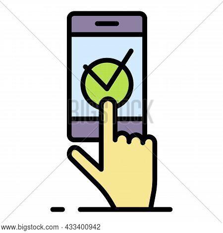 Smartphone Vote Check Mark Icon. Outline Smartphone Vote Check Mark Vector Icon Color Flat Isolated