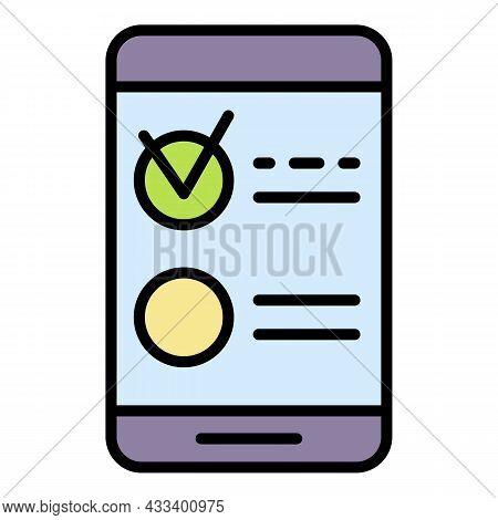 Smartphone Test Vote Icon. Outline Smartphone Test Vote Vector Icon Color Flat Isolated
