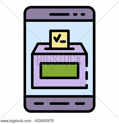 Smartphone Video Ballot Box Icon. Outline Smartphone Video Ballot Box Vector Icon Color Flat Isolate