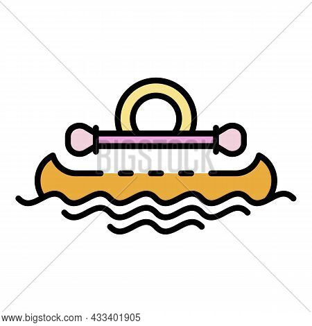 Kayak Swimming Icon. Outline Kayak Swimming Vector Icon Color Flat Isolated
