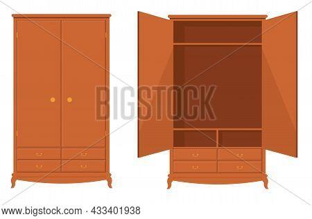 Wood Wardrobe. Wooden Empty Dresser Wardrobe Vector Illustration, Wardrobe With Drawer, Shelves And