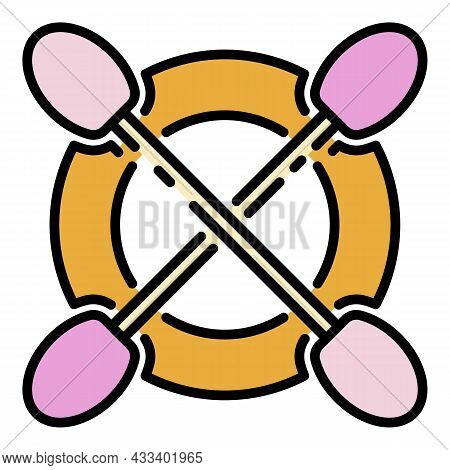 Crossed Kayak Paddles Icon. Outline Crossed Kayak Paddles Vector Icon Color Flat Isolated