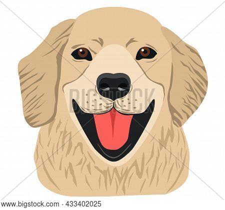 Cute Labrador Retriever On White Background. Cute Pet. Dog Breed Line Art Logo - Golden Retriever. I