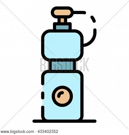 Cycling Water Bottle Icon. Outline Cycling Water Bottle Vector Icon Color Flat Isolated