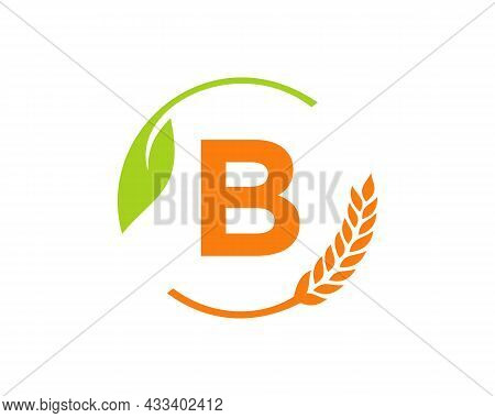 Agriculture Logo On B Letter Concept. Agriculture And Farming Logo Design. Agribusiness, Eco-farm An