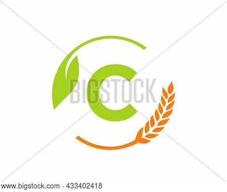 Agriculture Logo On C Letter Concept. Agriculture And Farming Logo Design. Agribusiness, Eco-farm An