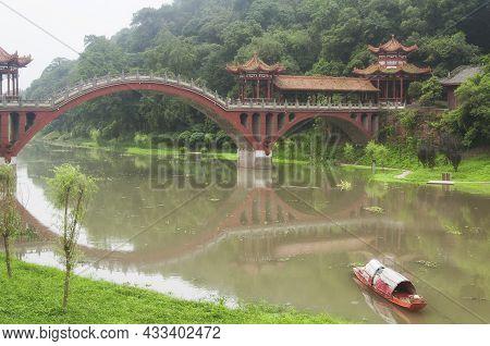 The Landmark Haoshang Bridge Over The Mahao River Within The Leshan Grand Buddha Scenic Area In Sich
