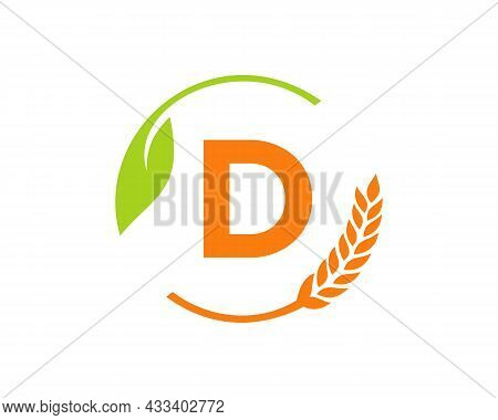 Agriculture Logo On D Letter Concept. Agriculture And Farming Logo Design. Agribusiness, Eco-farm An