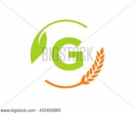 Agriculture Logo On G Letter Concept. Agriculture And Farming Logo Design. Agribusiness, Eco-farm An