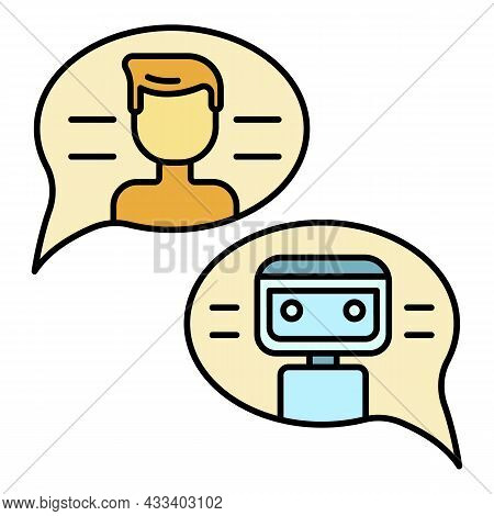 Conversation With Chat Bot Icon. Outline Conversation With Chat Bot Vector Icon Color Flat Isolated