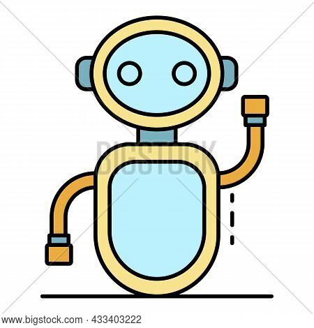 Greeting Chat Bot Icon. Outline Greeting Chat Bot Vector Icon Color Flat Isolated