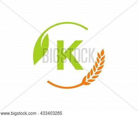 Agriculture Logo On K Letter Concept. Agriculture And Farming Logo Design. Agribusiness, Eco-farm An