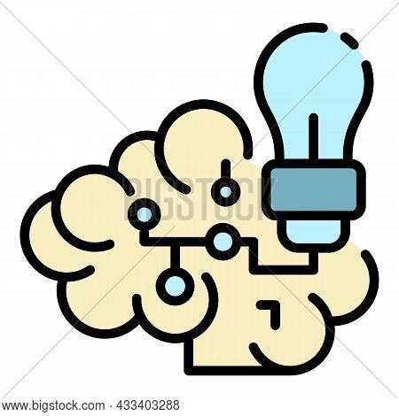 Ai Cloud Idea Icon. Outline Ai Cloud Idea Vector Icon Color Flat Isolated