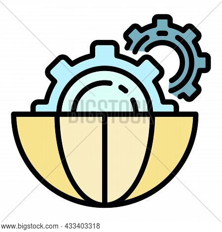 Ai Gear Style Icon. Outline Ai Gear Style Vector Icon Color Flat Isolated