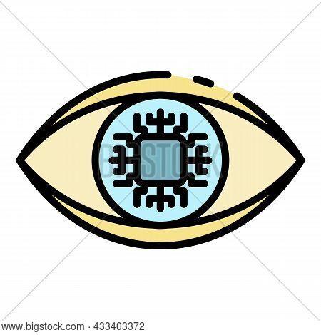 Ai Eye Processor Icon. Outline Ai Eye Processor Vector Icon Color Flat Isolated