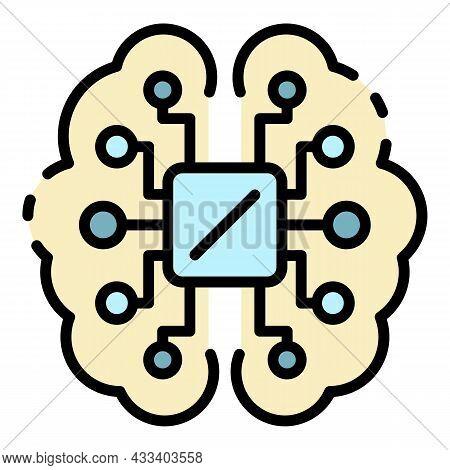 Ai Processor Brain Icon. Outline Ai Processor Brain Vector Icon Color Flat Isolated