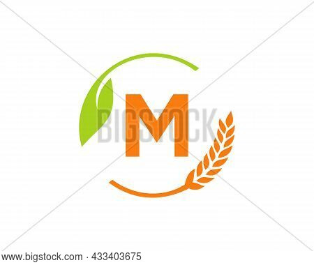 Agriculture Logo On M Letter Concept. Agriculture And Farming Logo Design. Agribusiness, Eco-farm An