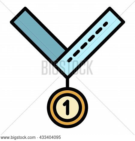 Medal For First Place Icon. Outline Medal For First Place Vector Icon Color Flat Isolated