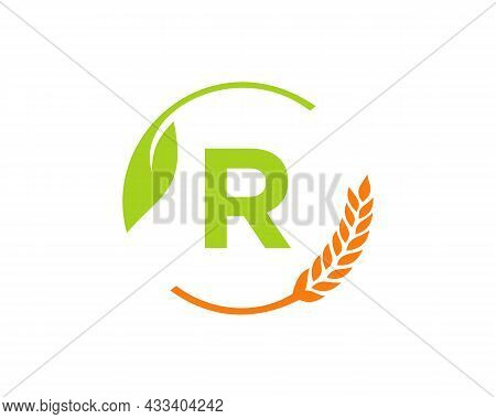 Agriculture Logo On R Letter Concept. Agriculture And Farming Logo Design. Agribusiness, Eco-farm An