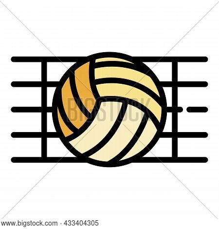 Ball In A Volleyball Net Icon. Outline Ball In A Volleyball Net Vector Icon Color Flat Isolated