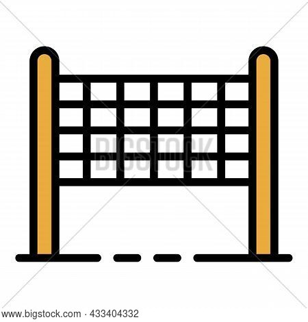 Volleyball Net Icon. Outline Volleyball Net Vector Icon Color Flat Isolated