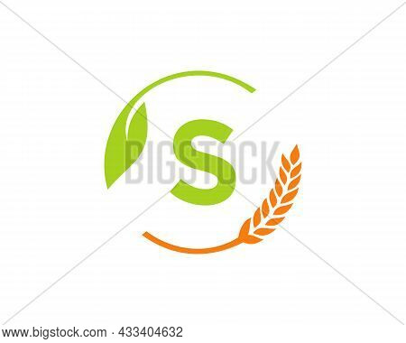 Agriculture Logo On S Letter Concept. Agriculture And Farming Logo Design. Agribusiness, Eco-farm An