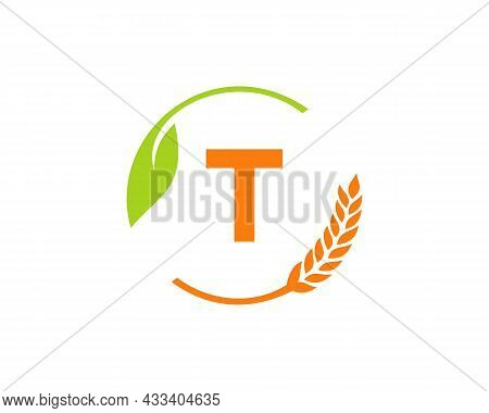 Agriculture Logo On T Letter Concept. Agriculture And Farming Logo Design. Agribusiness, Eco-farm An