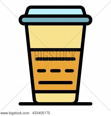 Take And Go Coffee Icon. Outline Take And Go Coffee Vector Icon Color Flat Isolated