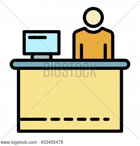 Company Recruiter Icon. Outline Company Recruiter Vector Icon Color Flat Isolated