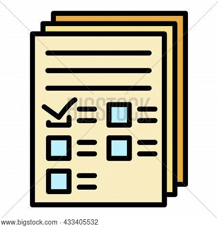 Recruitment Papers Icon. Outline Recruitment Papers Vector Icon Color Flat Isolated