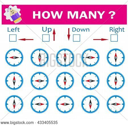 Left Or Right. Up Or Down. Logic Game For Kids. Count How Many Compasses Are Turned Left And How Man