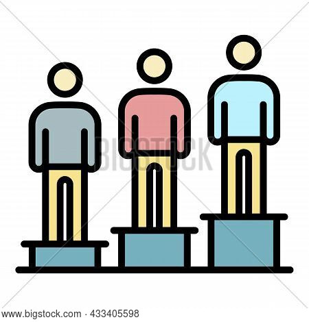 Company People Position Icon. Outline Company People Position Vector Icon Color Flat Isolated