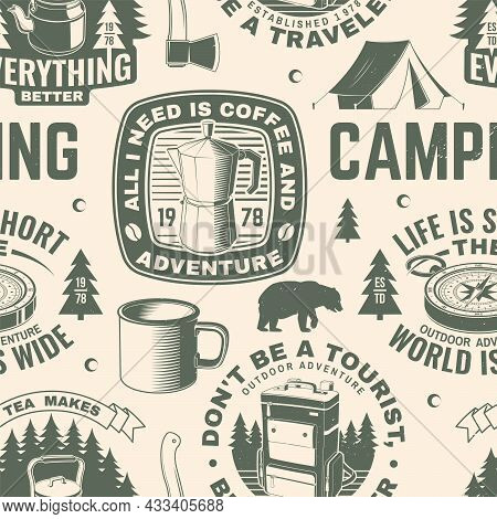 Summer Camp Seamless Pattern Or Background. Vector. Seamless Scene With Metallic Coffee Maker , Back
