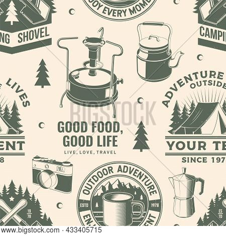 Summer Camp Seamless Pattern Or Background. Vector. Seamless Scene With Primus, Coffee Maker, Camper