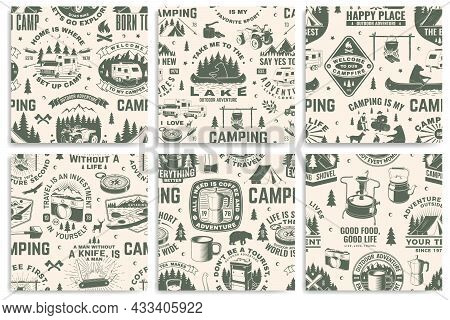 Set Of Outdoor Adventure Seamless Pattern, Background. Vector. Seamless Camping Pattern With Hiking