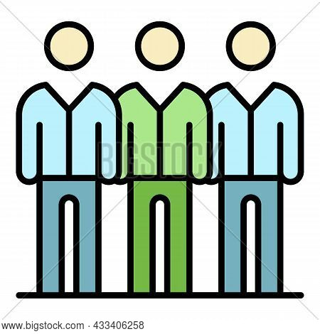 Corporate People Group Icon. Outline Corporate People Group Vector Icon Color Flat Isolated