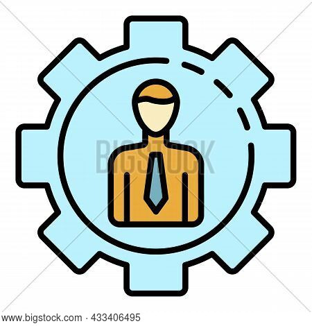 Man Gear Corporate Icon. Outline Man Gear Corporate Vector Icon Color Flat Isolated