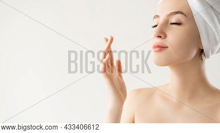 Wrinkle Treatment. Inspired Woman. Rejuvenation Cosmetology. Advertising Background. Pretty Lady Enj