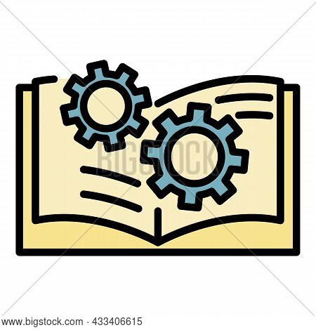 Gear User Guide Icon. Outline Gear User Guide Vector Icon Color Flat Isolated