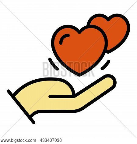 Two Beating Hearts In The Palm Icon. Outline Two Beating Hearts In The Palm Vector Icon Color Flat I