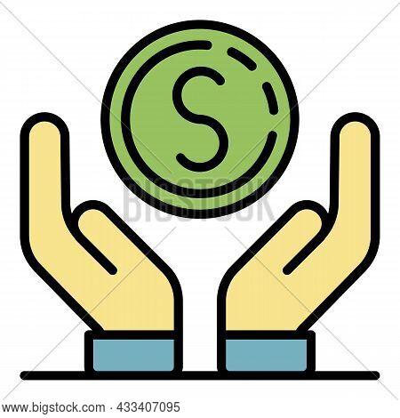 Keep Volunteering Money Icon. Outline Keep Volunteering Money Vector Icon Color Flat Isolated