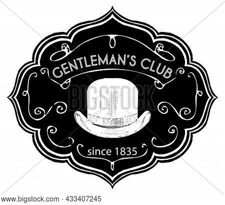 Gentlemen Club, Vintage Retro Label With Chalk