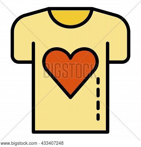 Charity Heart Tshirt Icon. Outline Charity Heart Tshirt Vector Icon Color Flat Isolated